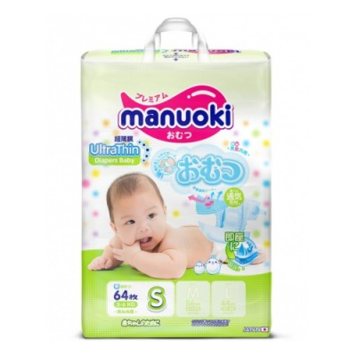 Оптом Manuoki подгузники  S (3-6 кг), 64 шт